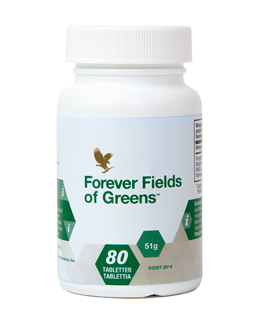 Forever Fields of Greens is a dietary supplement containing barley grass, alfalfa, wheatgrass, honey and cayenne pepper.