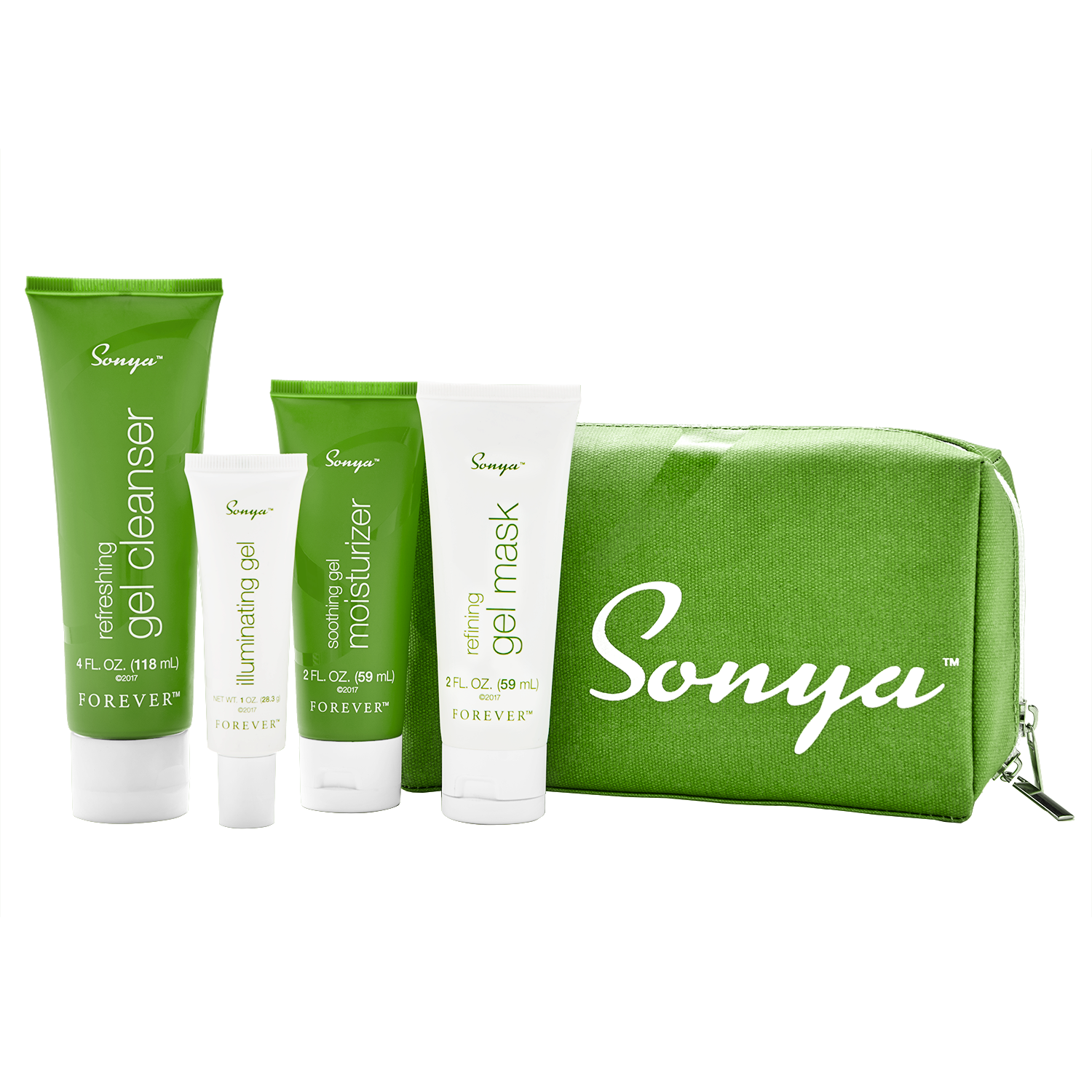 Sonya daily skincare is gel-based face care with refreshing gel cleanser, illuminating gel, refining gel mask and soothing gel moisturizer.